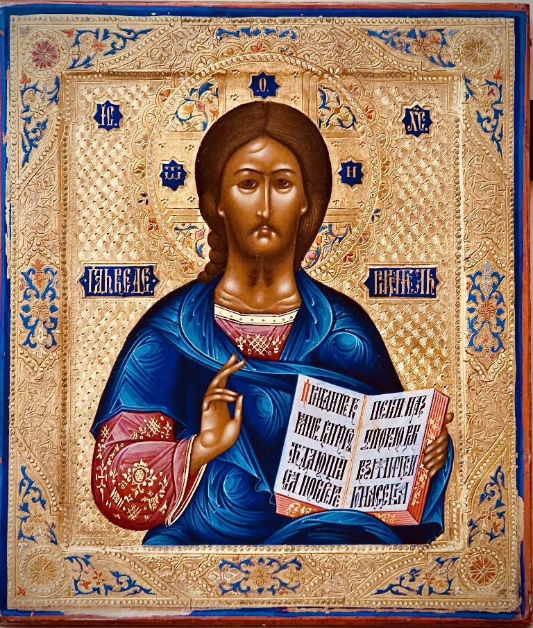 Cristo pantocratore, antiche icone russe, arte per collezionisti, sacre icone,