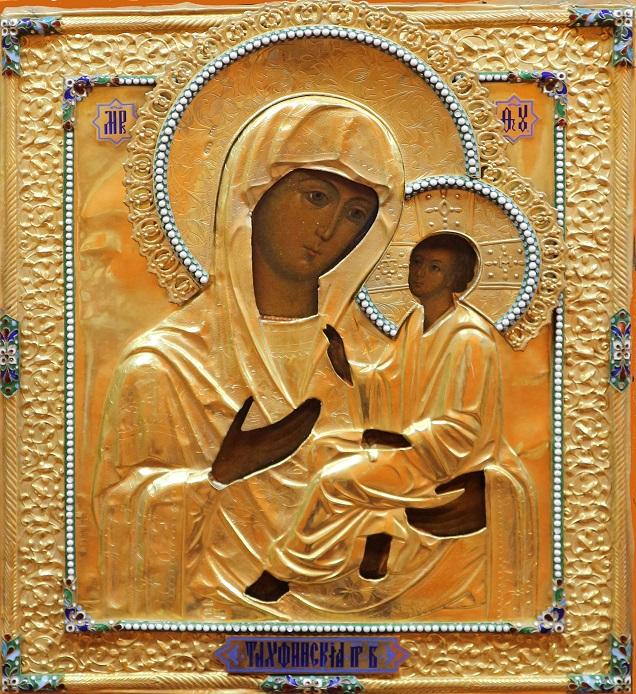 Madre di Dio di Tichvin con riza