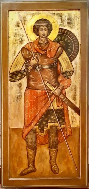 San Giorgio guerriero, icona rara, icona antica, antiche icone russe, arte sacra